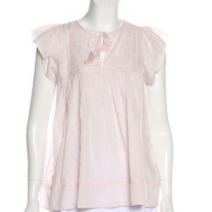 Ulla Johnson pink flowy tassel top